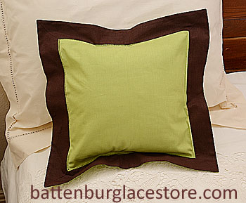 "Baby Pillow Sham.12""x12"" Square Macaw Green with Brown border"